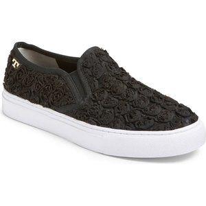 Tory Burch Black Rosette Slip-On Sneakers 8.5